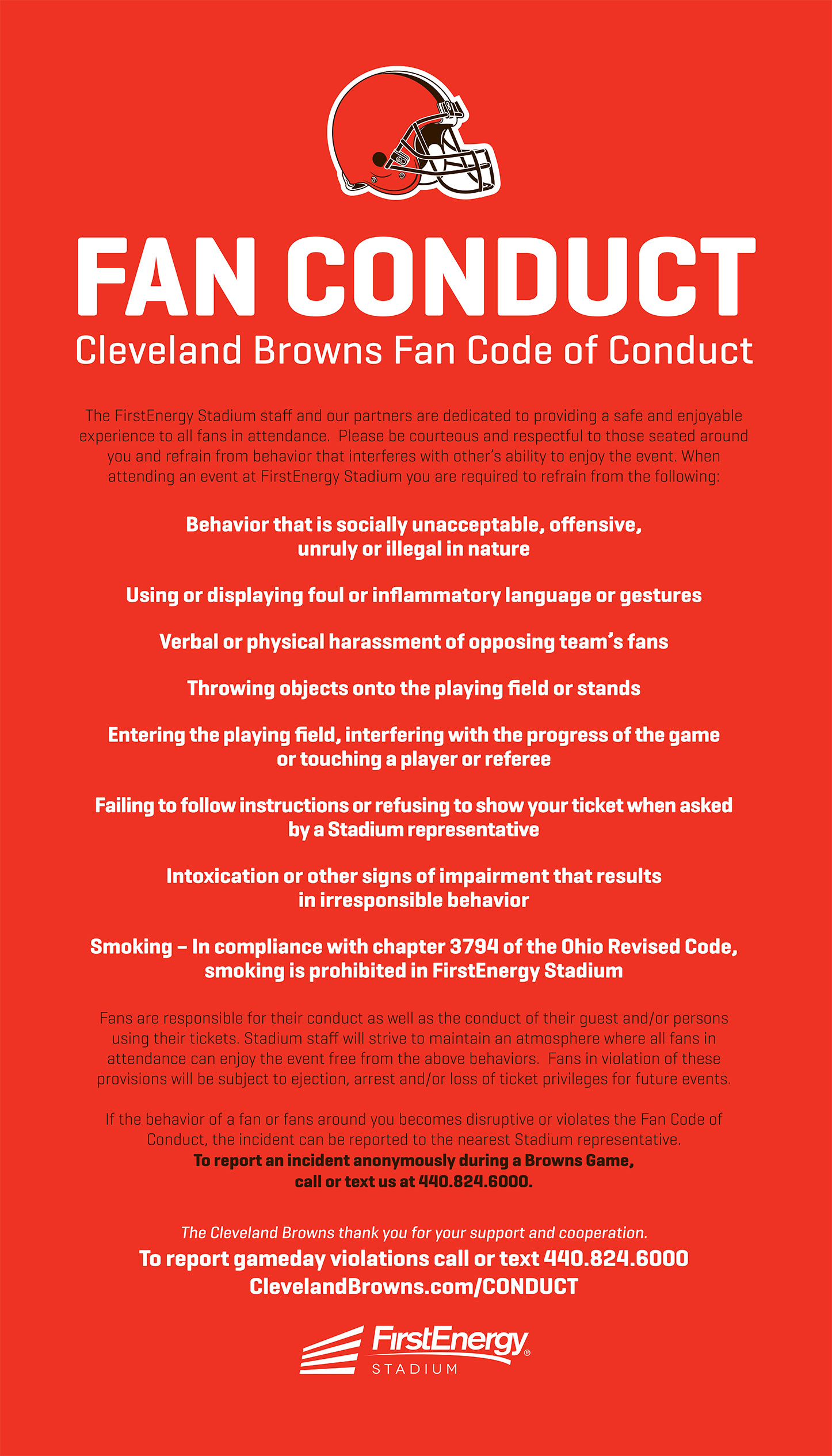 2016 Fan Code of Conduct