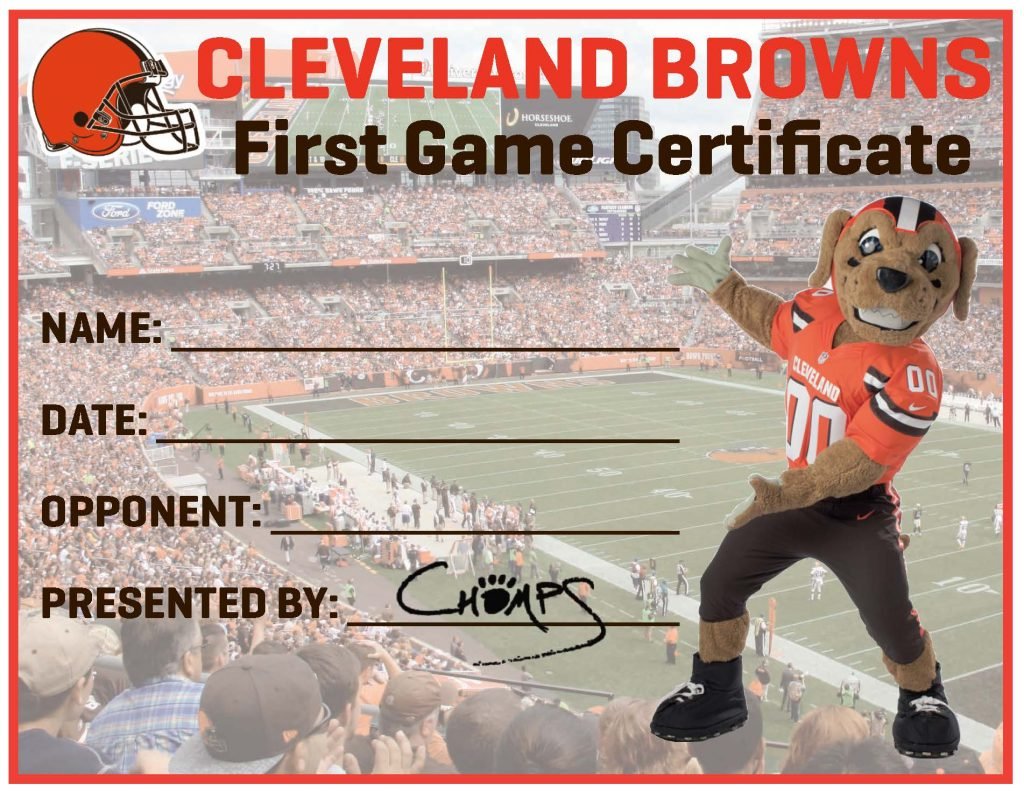 First Browns Game Certificate